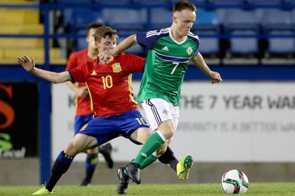 Press Eye - Belfast -  Northern Ireland - 19th September 2016 - Photo by William Cherry  Northern Ireland's Reece McGinley with Spain's Sergio Martín during Monday nights UEFA European Under-17 Championship qualifier at Mournview Park.